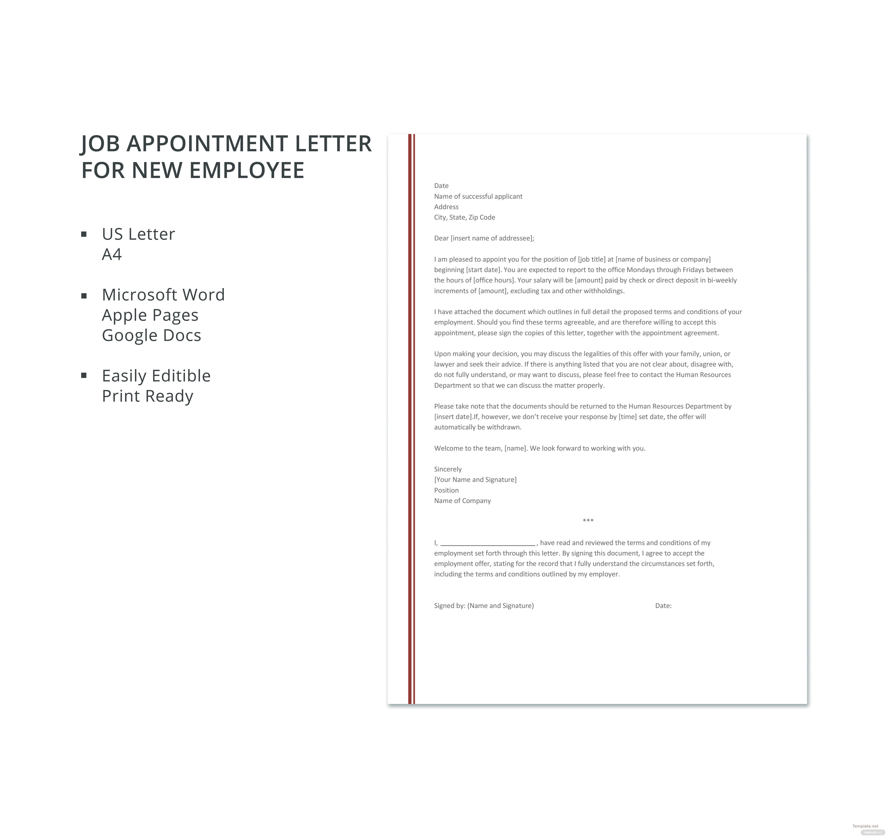 Job appointment letter template for new employee in microsoft word job appointment letter template for new employee thecheapjerseys Image collections