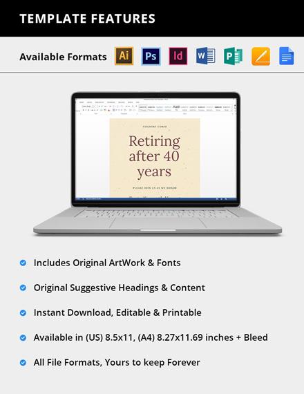 Editable Retirement Flyer