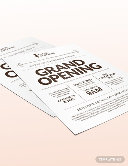 Sample Store Opening Flyer