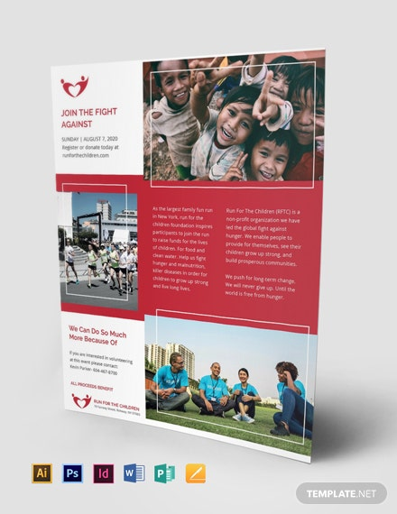 charity flyer template in psd illustrator word indesign