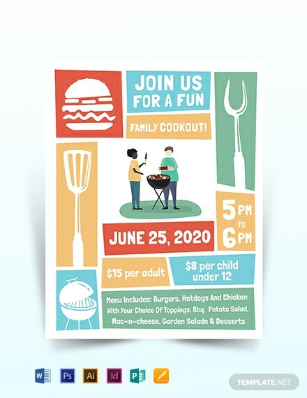 cookout flyer template word psd indesign apple. Black Bedroom Furniture Sets. Home Design Ideas