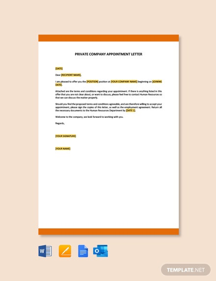 Private Company Appointment Letter Template