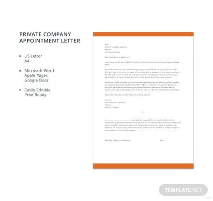 Free private school teacher appointment letter template free templates private company appointment letter template friedricerecipe Images