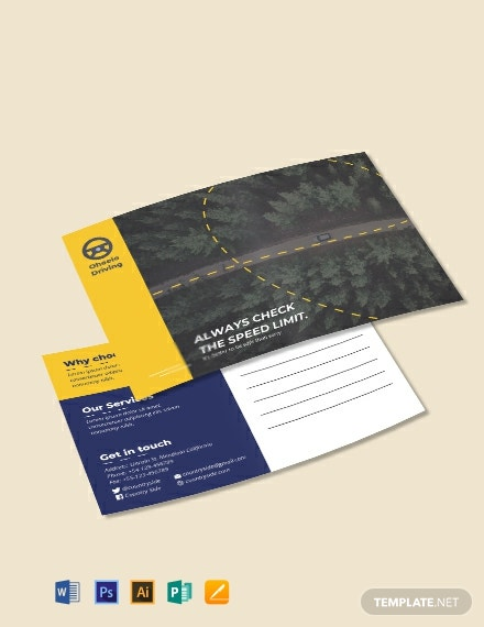 Free Driving School Postcard Template