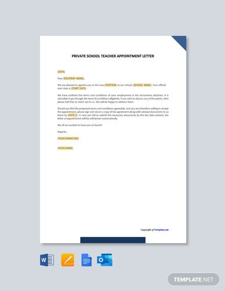 Free Private School Teacher Appointment Letter Template