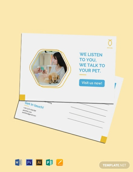 Free Pet Clinic Postcard Template