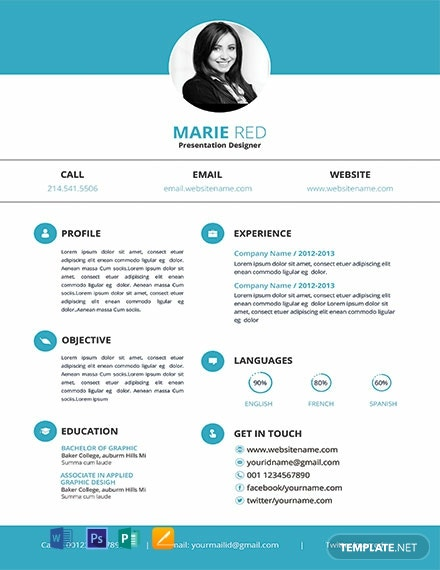 Free Presentation Designer Resume