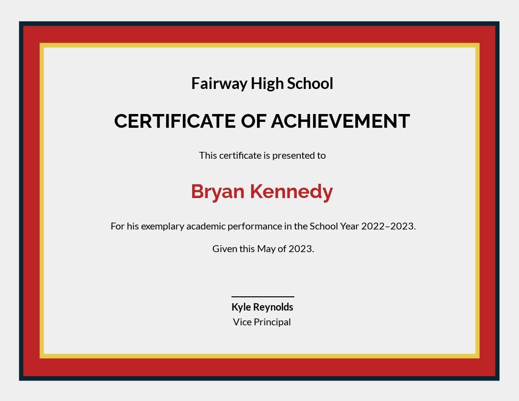 Academic Achievement Certificate Template.jpe