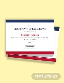Academic Excellence Certificate Template