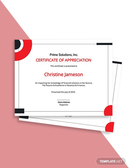 Appreciation Certificate Template for Employee