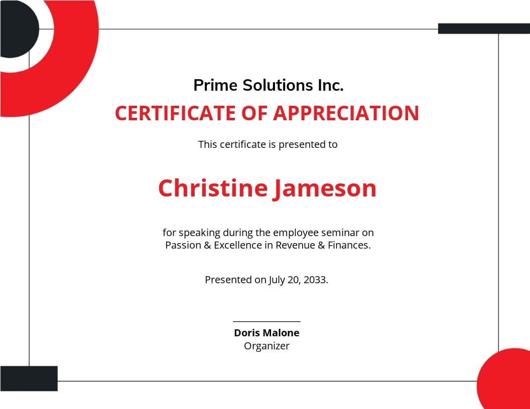 Appreciation Certificate Template for Employee.jpe