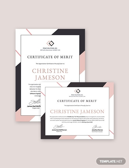 appreciation certificate template for employee merit 2 1x