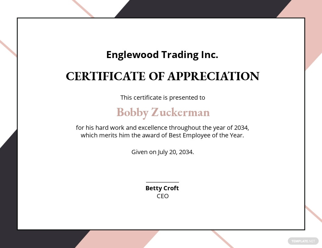 Appreciation Certificate Template for Employee Merit