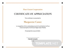 Employee Appreciation Certificate Template