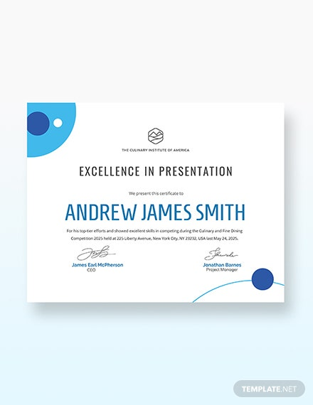Sample Modern Award Certificate