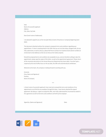 Free Simple Appointment Letter Template