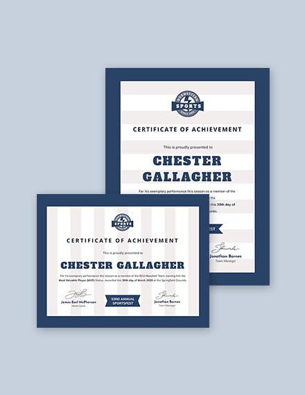 Baseball Award Certificate Template