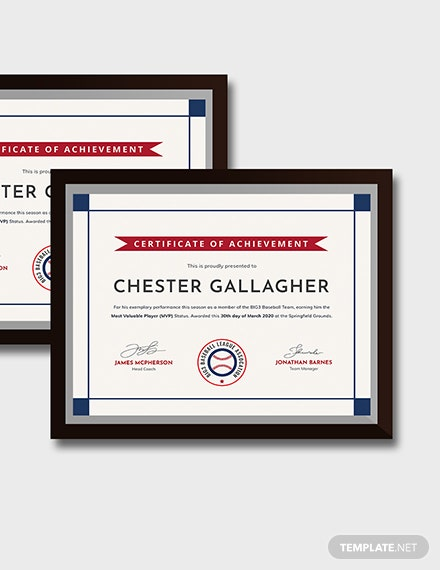 Creative Baseball Award Certificate Download