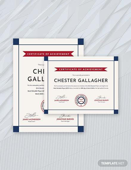 Creative Baseball Award Certificate Template