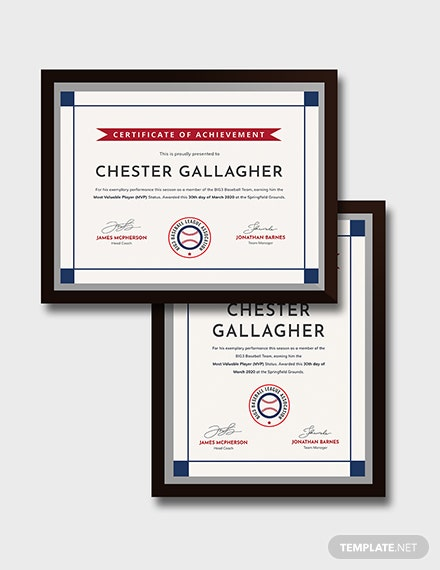 Sample Creative Baseball Award Certificate
