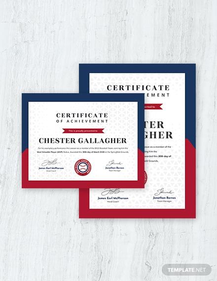 Simple Baseball Award Certificate Template