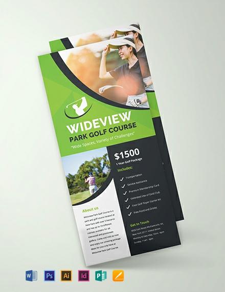 Free Golf Resort Rack Card Template