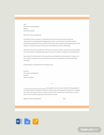 Free Subcontractor Appointment Letter Template