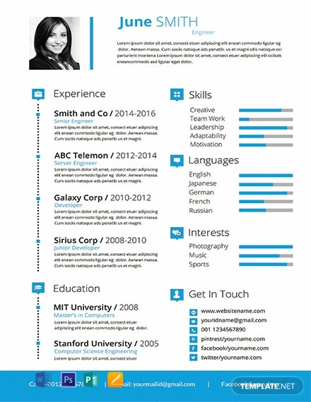 free engineer resume template in photoshop  word  publisher  pages