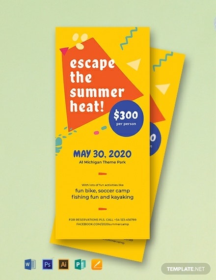 Summer Camp Rack Card Template