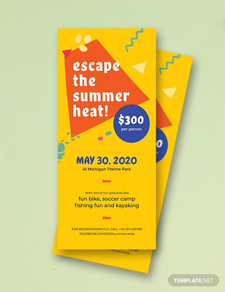 Free Summer Camp Rack Card Template
