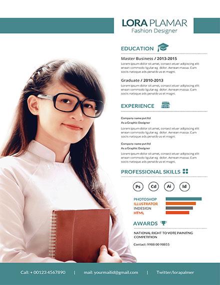 Free CV Template for Fashion Designer