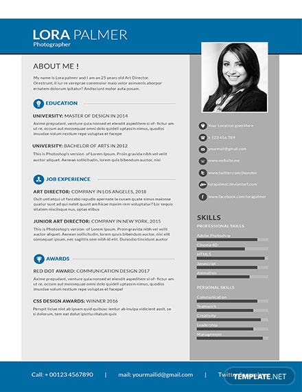 Free Simple Photographer Resume