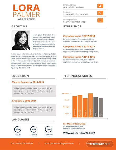 Free Clean Web Designer Resume