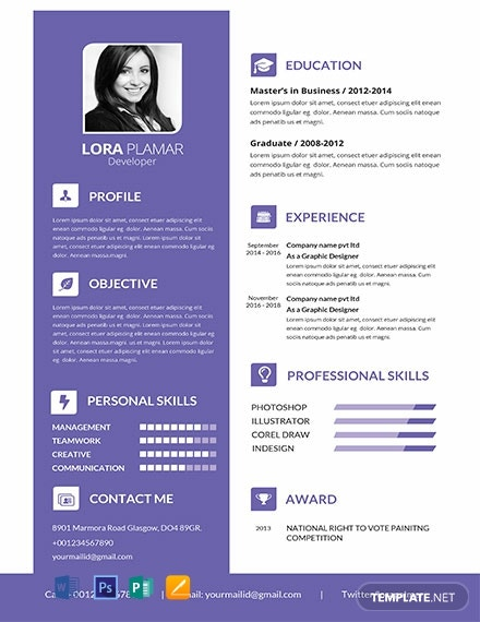 pages resume templates free professional developer resume template in photoshop 23881 | Free Professional Developer Resume Template 440x570 1