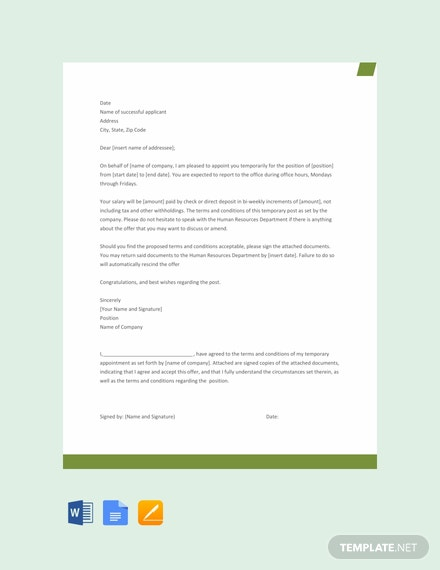 Free Temporary Appointment Letter Template