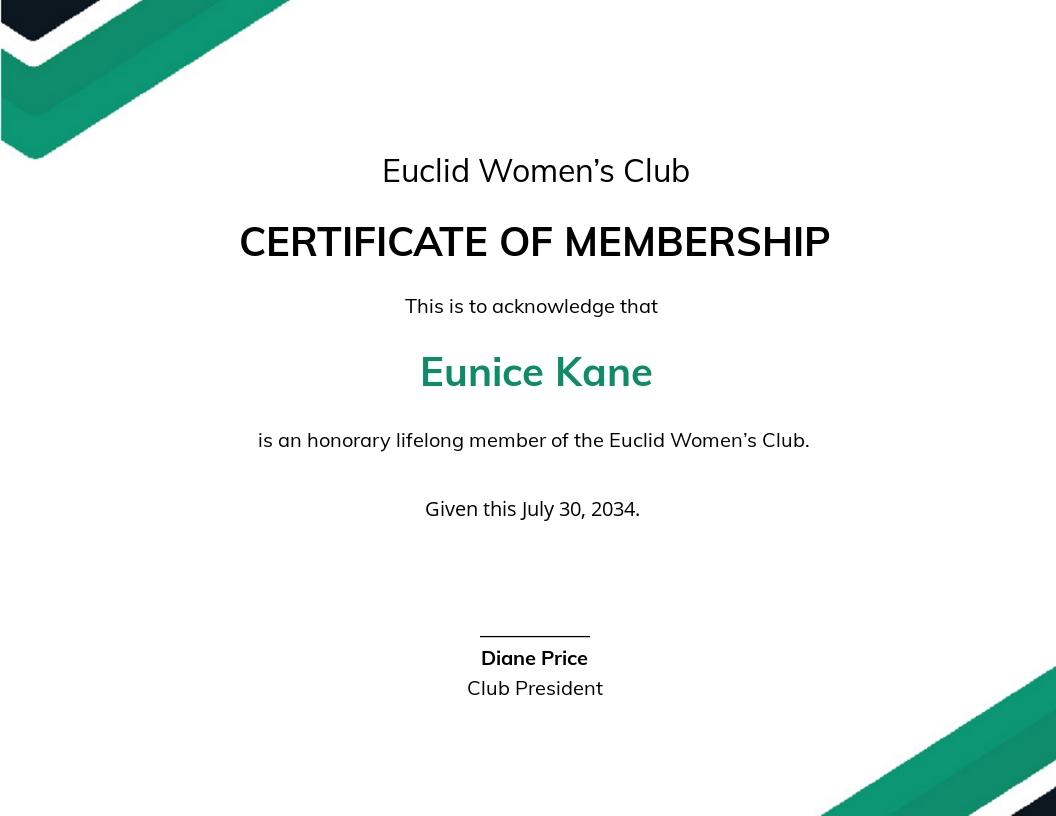 Honorary Life Member Certificate Template