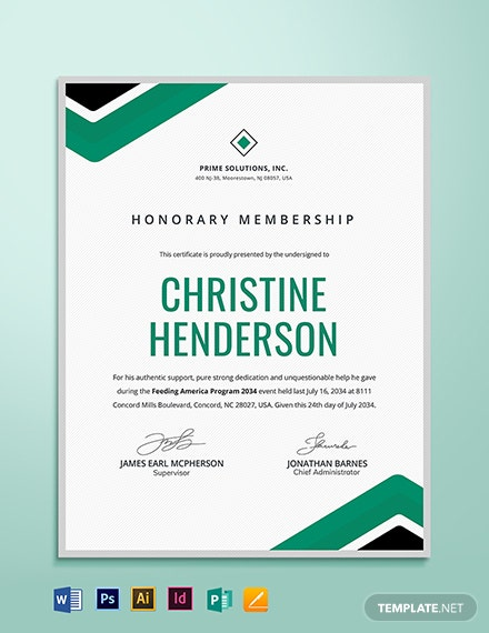 Honorary Life Member Certificate Template
