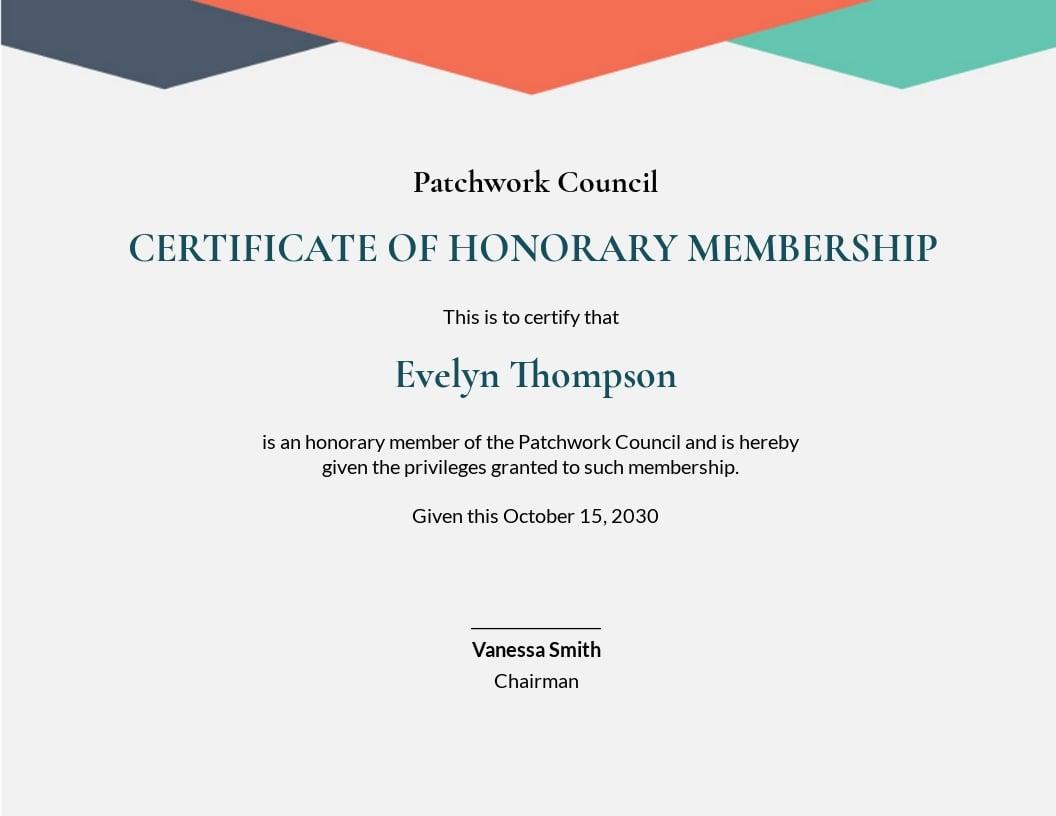 Honorary Member Certificate Template