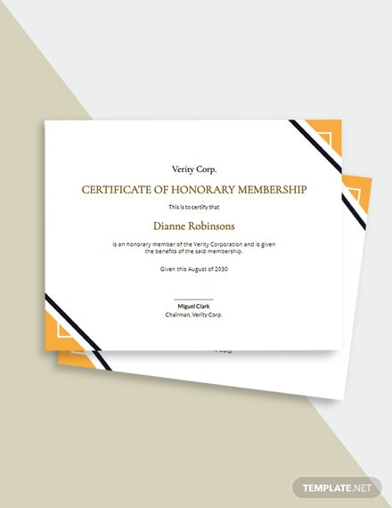 Simple Certificate of Honorary Template
