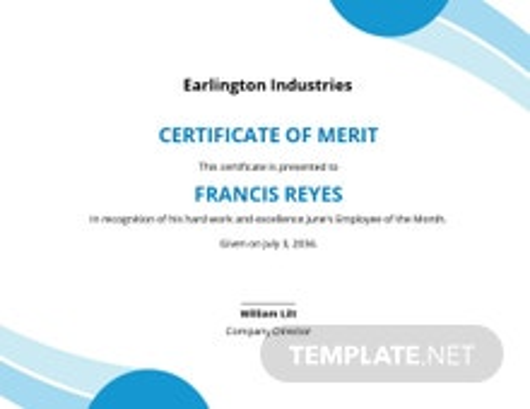 Certificate of Merit Template