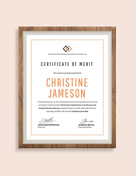 Merit Award Certificate Download