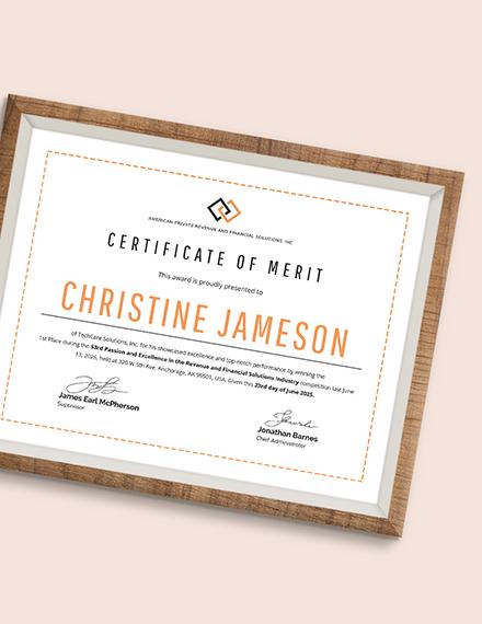 Sample Merit Award Certificate