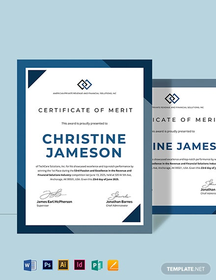 School Certificate of Merit Template