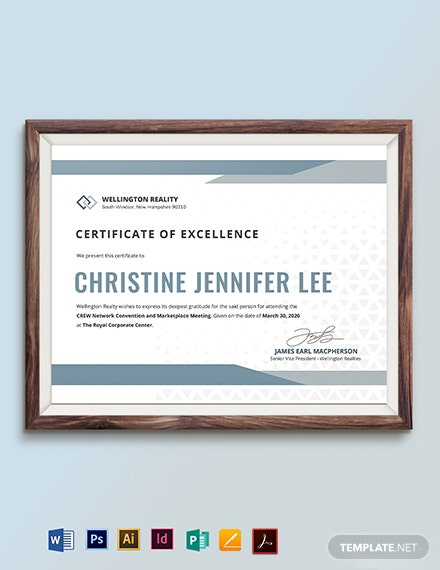 Simple Certificate of Excellence Template