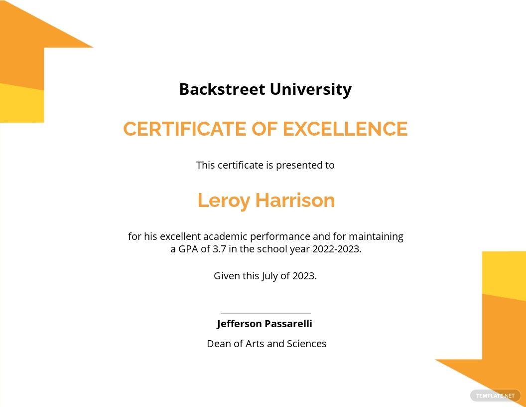 Student Certificate of Excellence Template