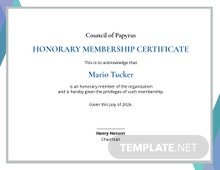 Certificate of Honorary Template