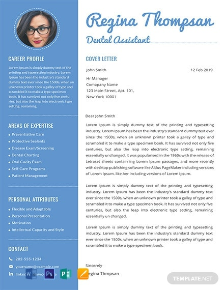 Dental Assistant Resume and Cover Letter Template