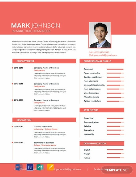 Free Marketing Manager Resume