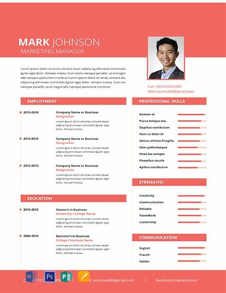 Free Marketing Manager Resume