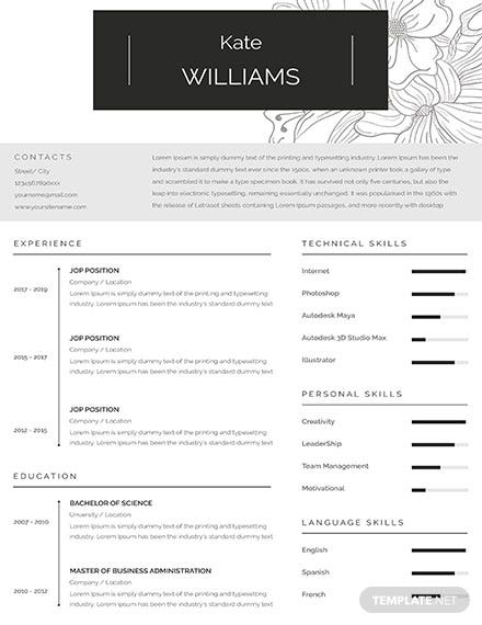 Free One Page Personal Resume